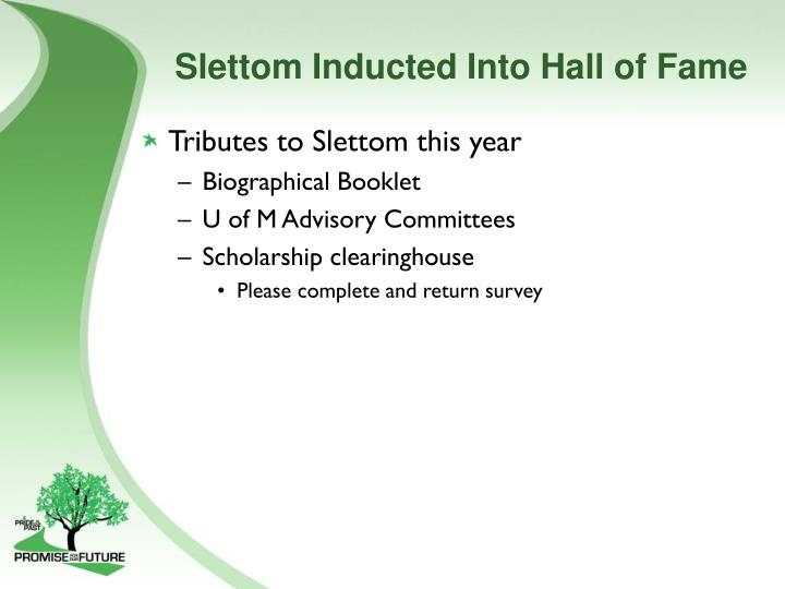 Slettom Inducted Into Hall of Fame