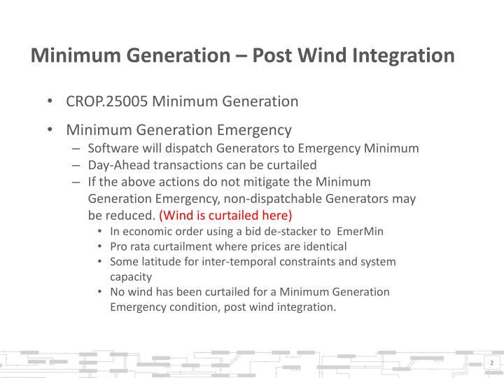 Minimum generation post wind integration