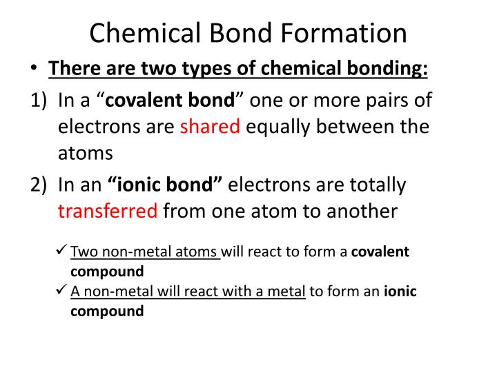 Chemical Bond Formation