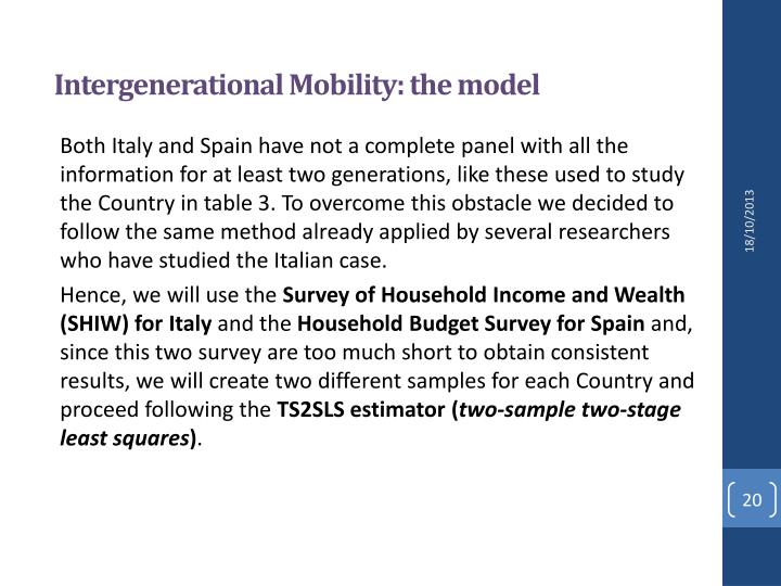Intergenerational Mobility: the model