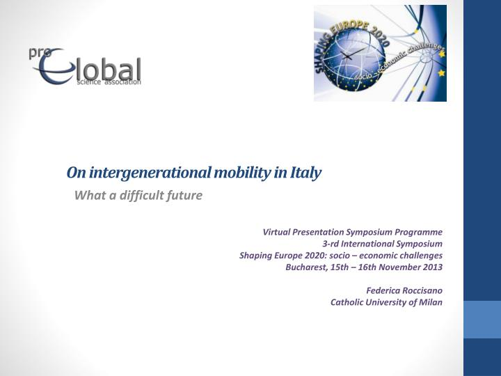 On intergenerational mobility in italy