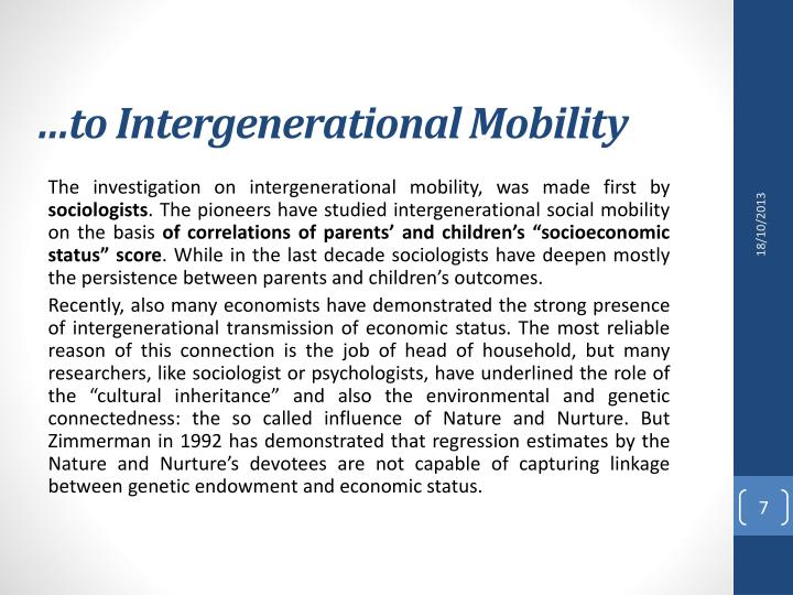…to Intergenerational Mobility