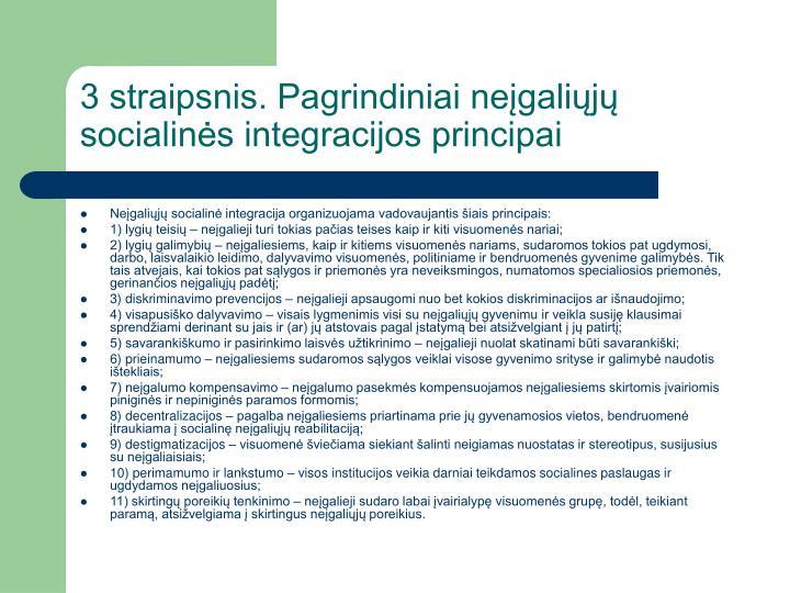 3 straipsnis. Pagrindiniai neįgaliųjų socialinės integracijos principai
