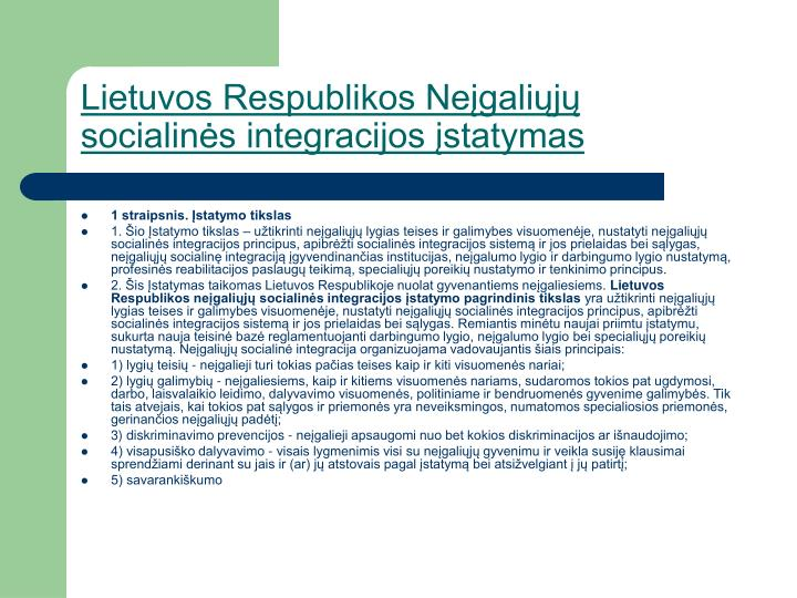 Lietuvos Respublikos Neįgaliųjų socialinės integracijos įstatymas