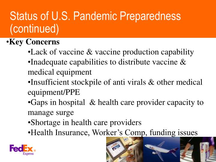 Status of U.S. Pandemic Preparedness (continued)