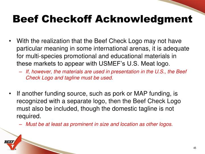 Beef Checkoff Acknowledgment