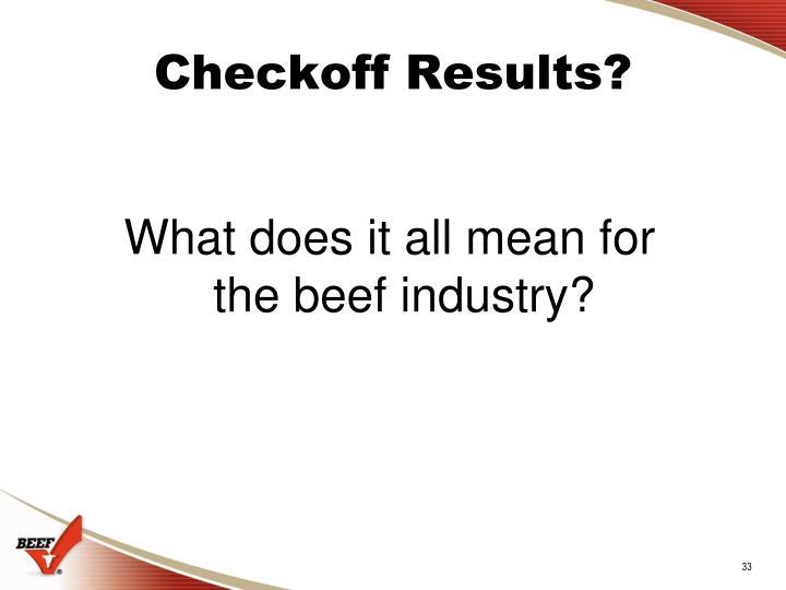 Checkoff Results?