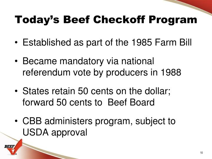 Today's Beef Checkoff Program