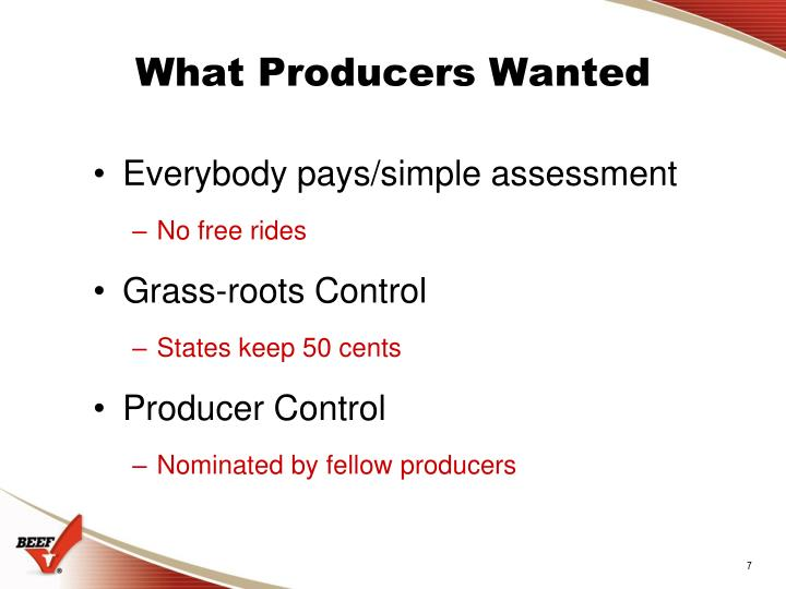 What Producers Wanted