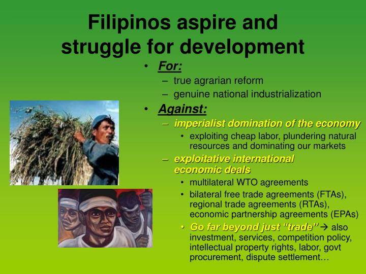 Filipinos aspire and struggle for development