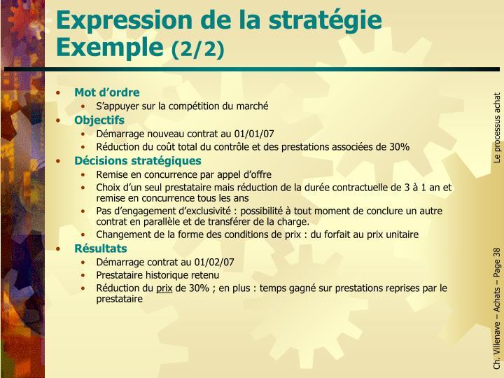Expression de la stratégie