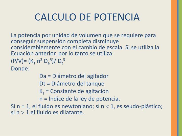 CALCULO DE POTENCIA