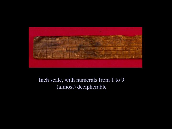 Inch scale, with numerals from 1 to 9 (almost) decipherable