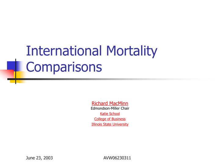 international mortality comparisons n.