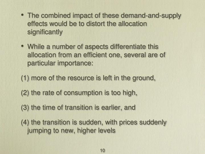 The combined impact of these demand-and-supply effects would be to distort the allocation significantly