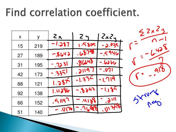 Find correlation coefficient.