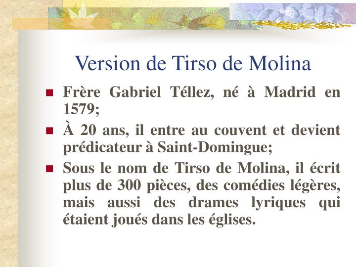 Version de Tirso de Molina