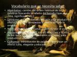 vocabulario que se necesita saber