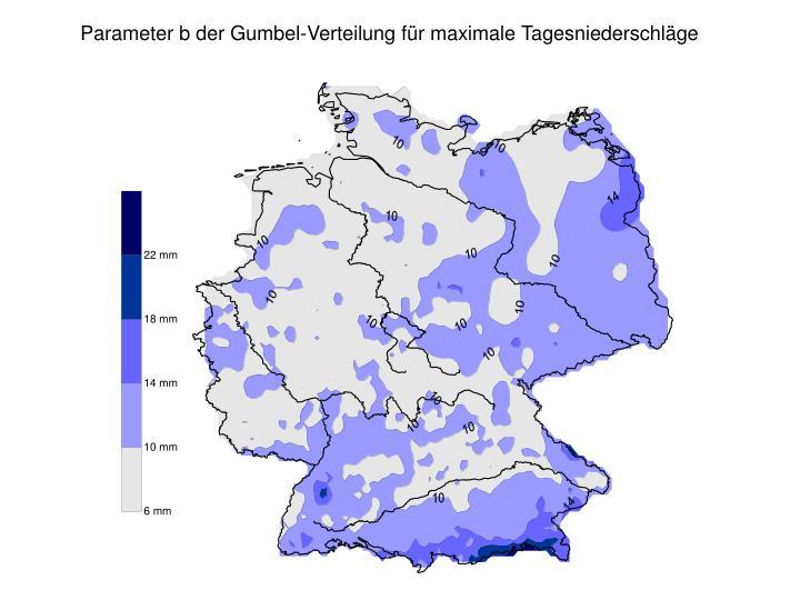 Parameter b der Gumbel-Verteilung für maximale Tagesniederschläge