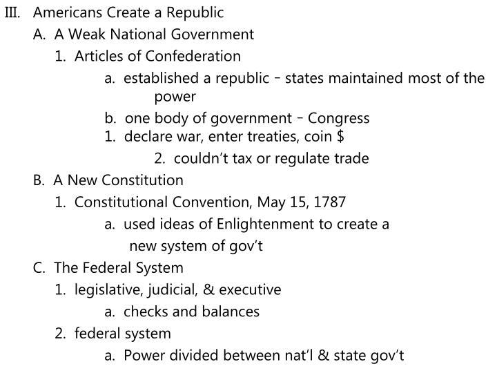 Americans Create a Republic