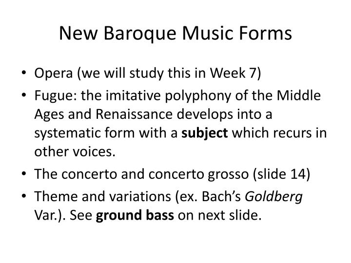 New Baroque Music Forms