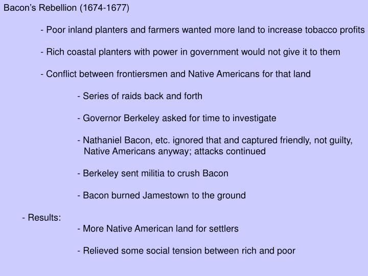 Bacon's Rebellion (1674-1677)