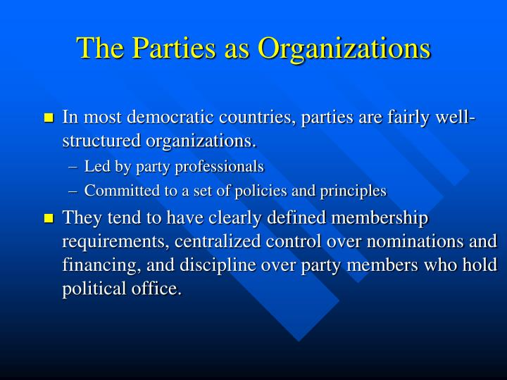 The Parties as Organizations