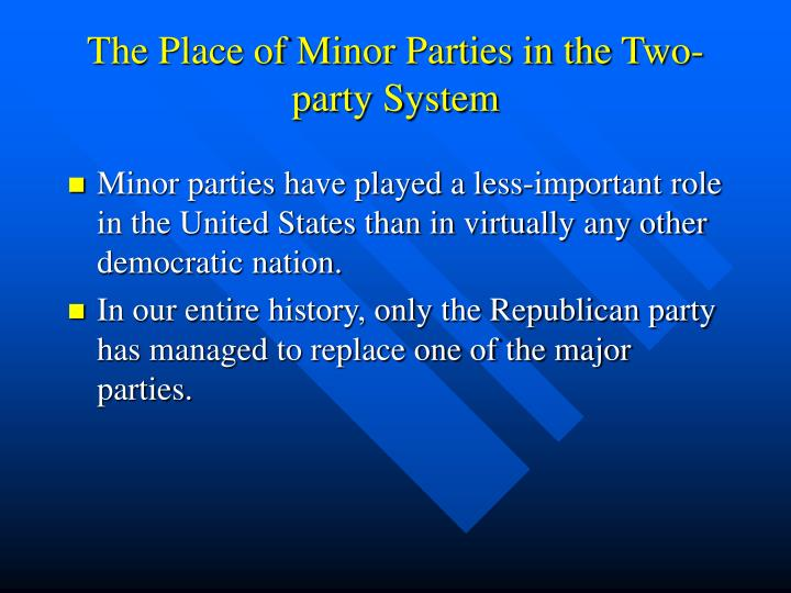 The Place of Minor Parties in the Two-party System