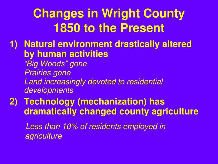 Changes in Wright County