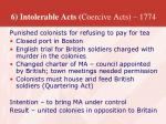 6 intolerable acts coercive acts 1774