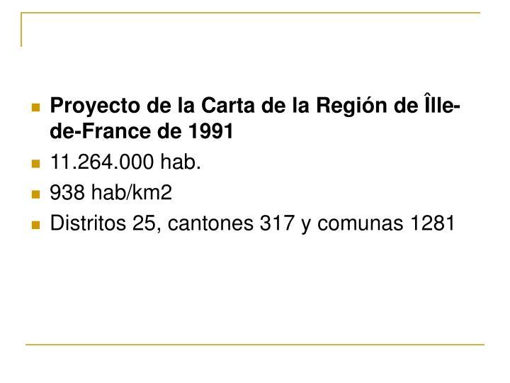 Proyecto de la Carta de la Región de Îlle-de-France de 1991