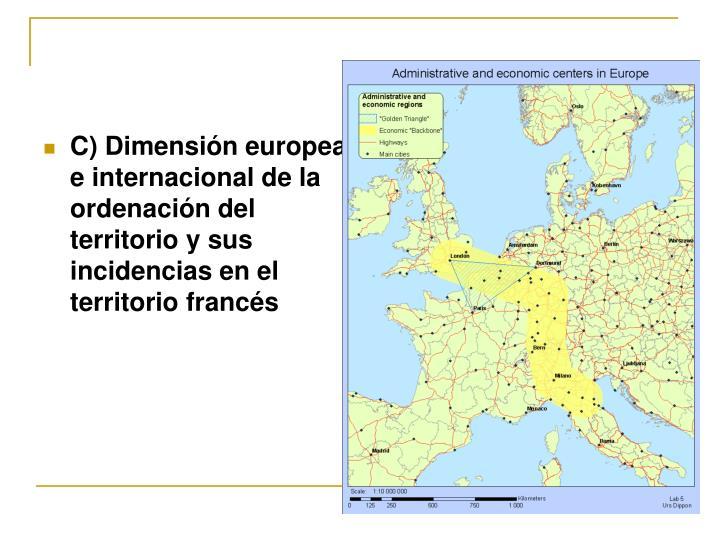 C) Dimensión europea e internacional de la ordenación del territorio y sus incidencias en el territorio francés
