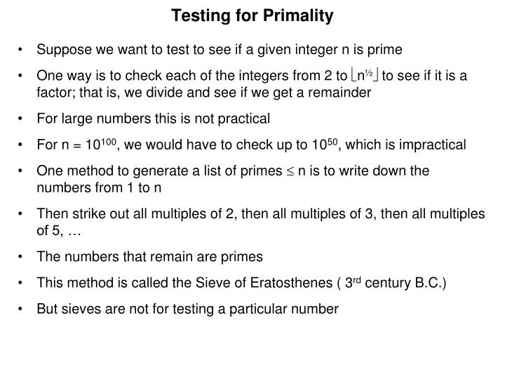 Testing for Primality
