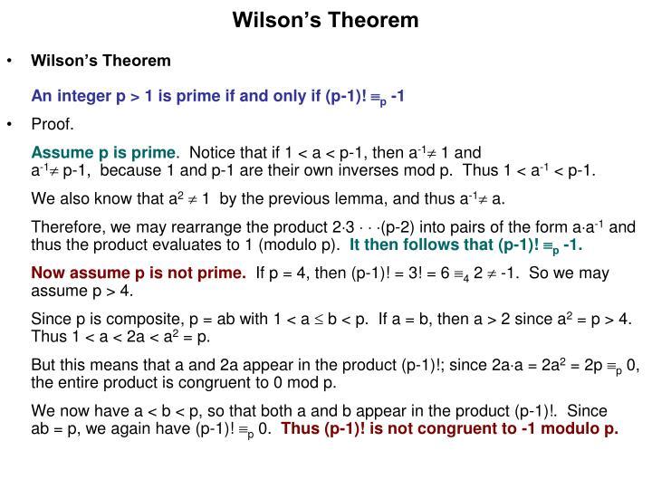 Wilson s theorem1