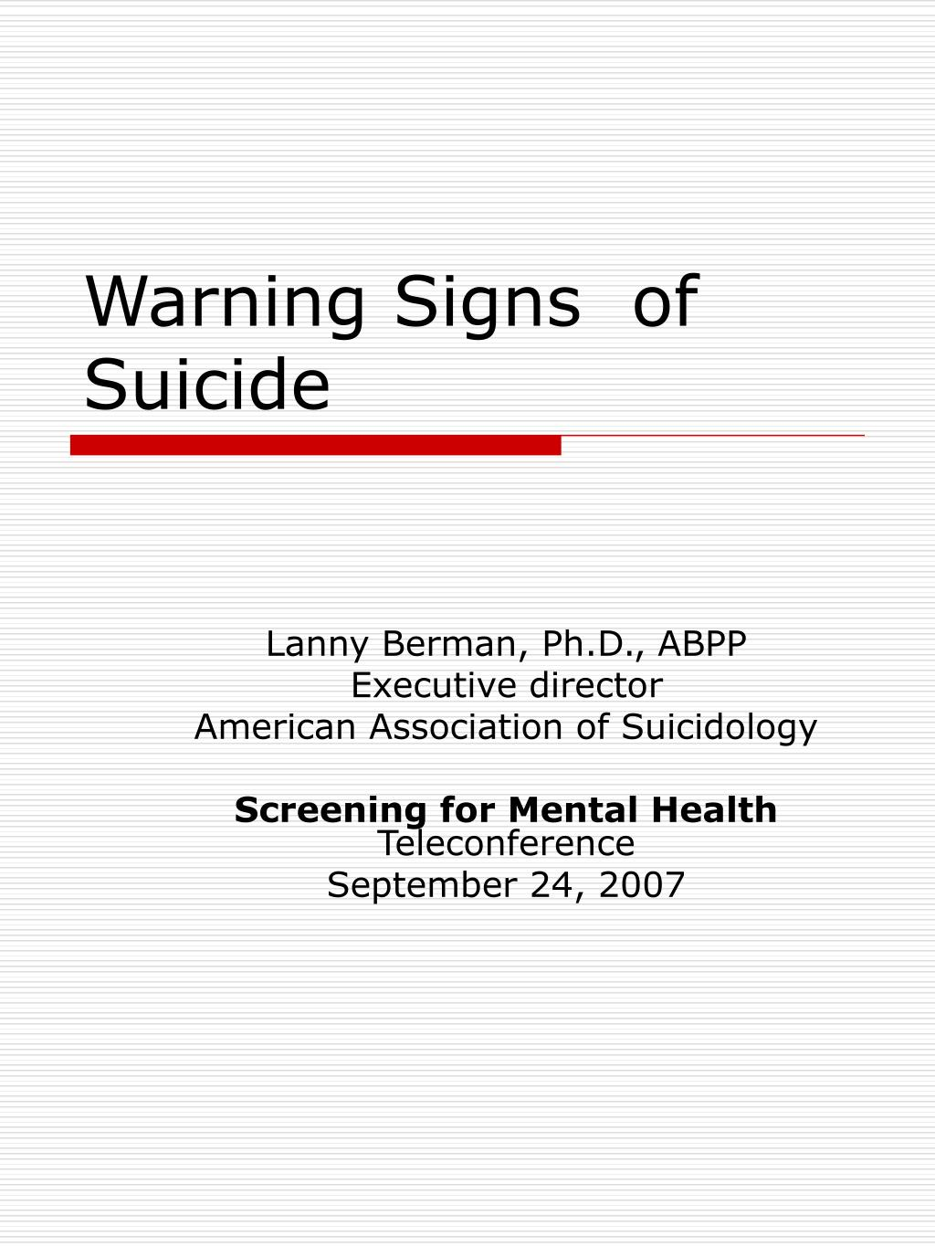 Ppt Warning Signs Of Suicide Powerpoint Presentation Id 7098488