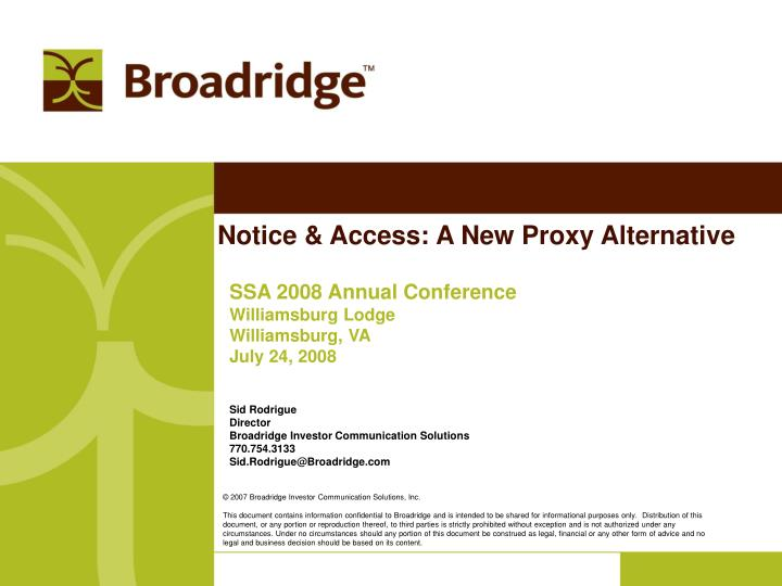 notice access a new proxy alternative n.
