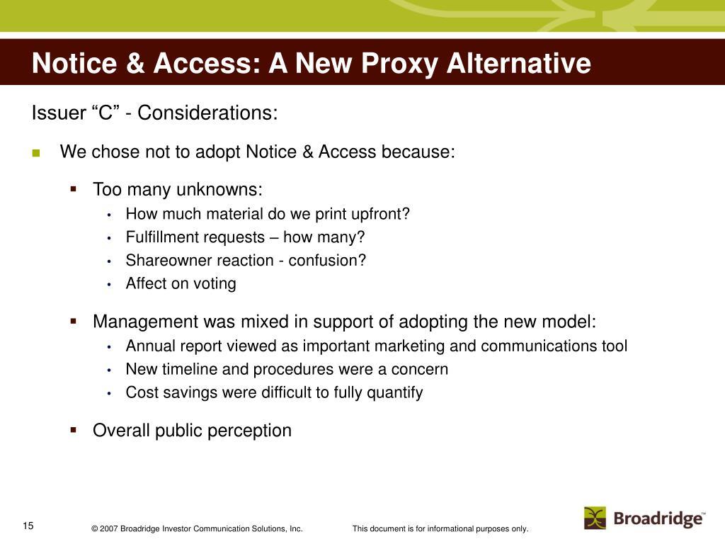 PPT - Notice & Access: A New Proxy Alternative PowerPoint