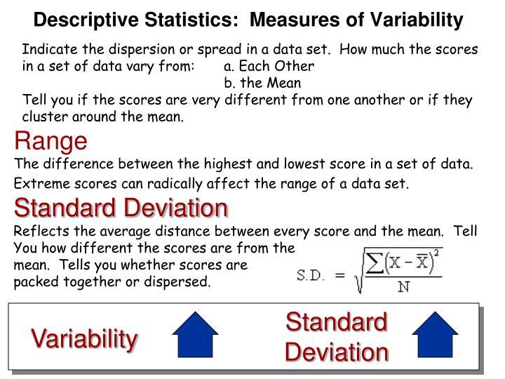Descriptive Statistics:  Measures of Variability