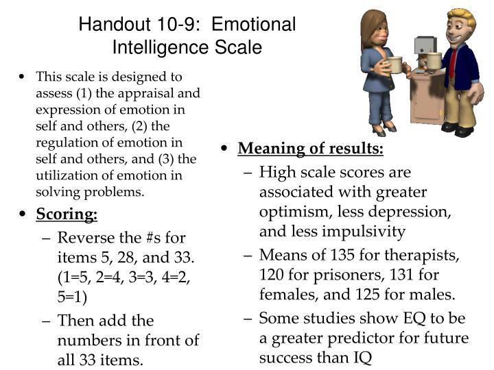 Handout 10-9:  Emotional Intelligence Scale
