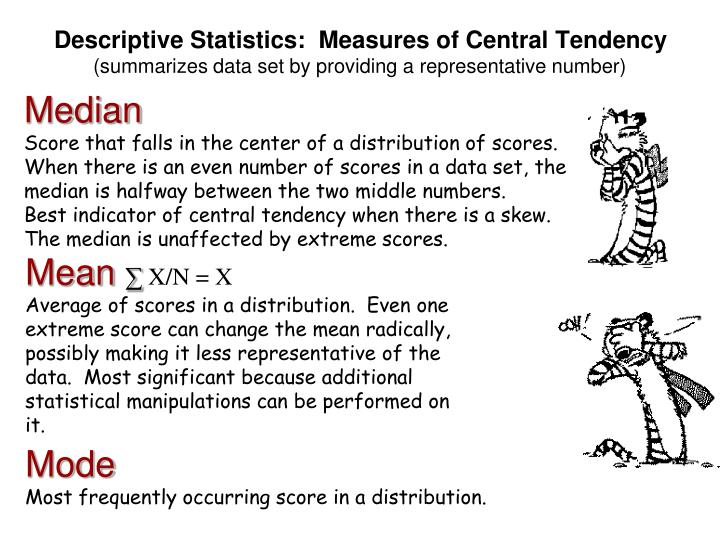 Descriptive Statistics:  Measures of Central Tendency