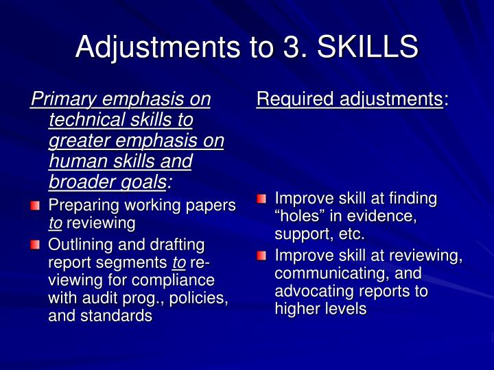 Primary emphasis on technical skills to greater emphasis on human skills and broader goals