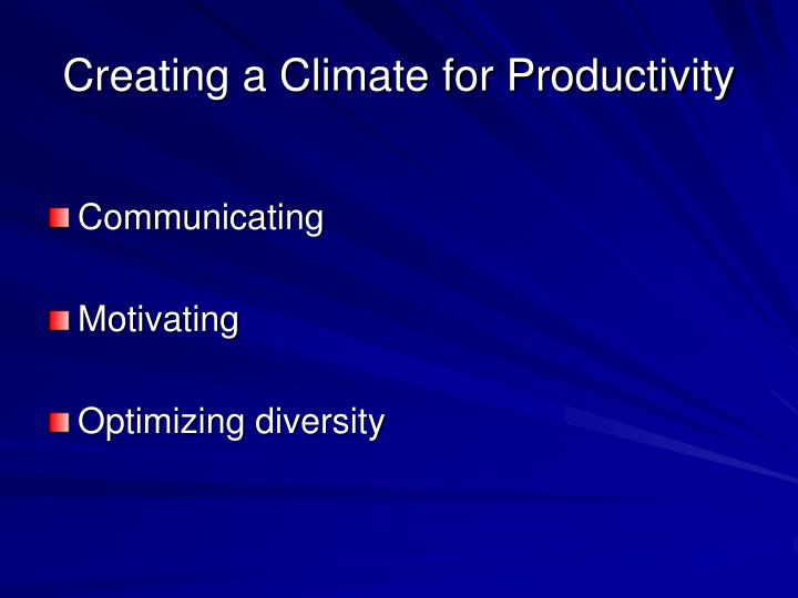 Creating a Climate for Productivity