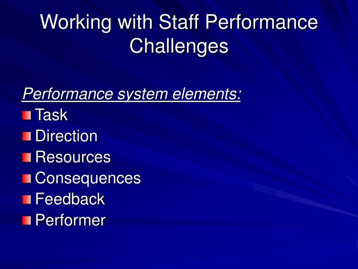 Working with Staff Performance Challenges