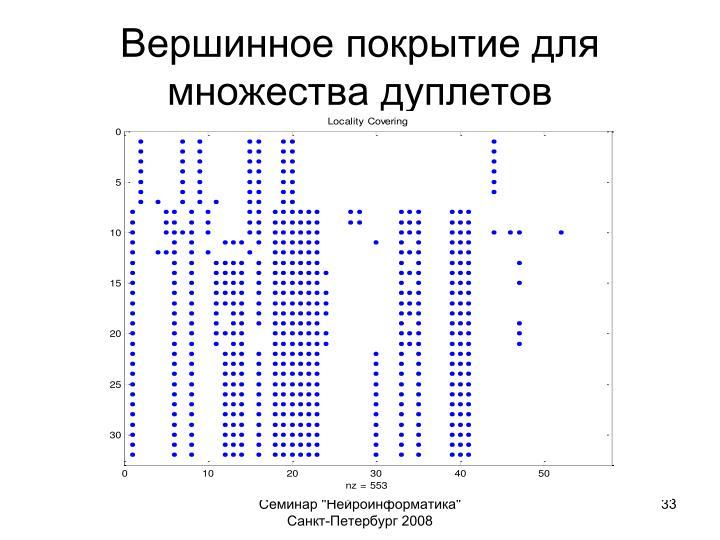 Вершинное покрытие для множества дуплетов