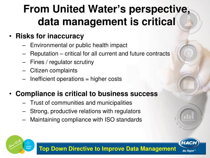From United Water's perspective, data management is critical