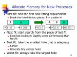 allocate memory for new processes