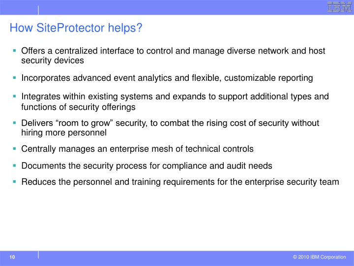 How SiteProtector helps?