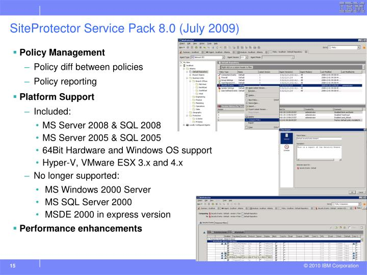 SiteProtector Service Pack 8.0 (July 2009)