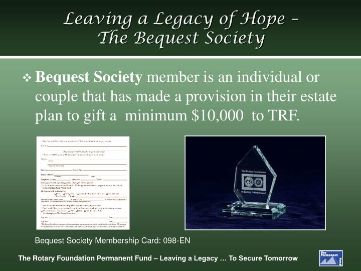 Leaving a Legacy of Hope –