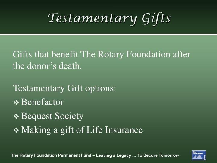 Testamentary Gifts